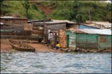 Shacks in Lake Victoria, Uganda.