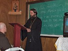 Fr. Theodosii lecturing on the spiritual significance of Dostoevsky's novel The Idiot